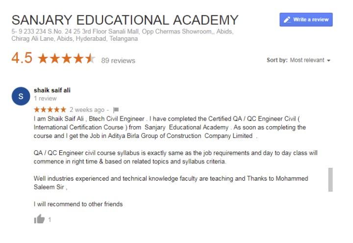 Reviews - Sanjary Educational Academy